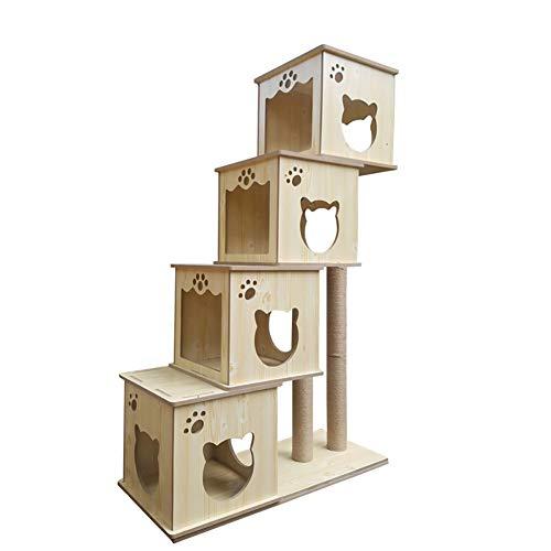Árbol rascador para gatos Estructura de escalada para gatos de gran tamaño, colector de arena para gatos multifuncional...