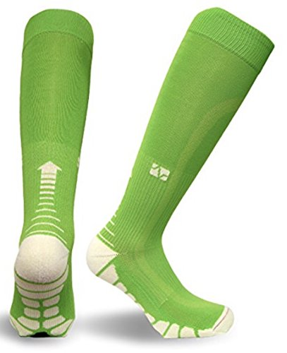 Lime Green Apparel - Vitalsox Italy -Patented Graduated Compression VT1211 Silver DryStat (1-Pair Fitted) (X-Large, Lime Green)