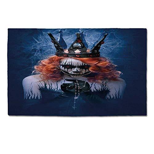 YOLIYANA Queen Durable Door Mat,Queen of Death Scary Body Art Halloween Evil Face Bizarre Make Up Zombie for Home Office,One Size -