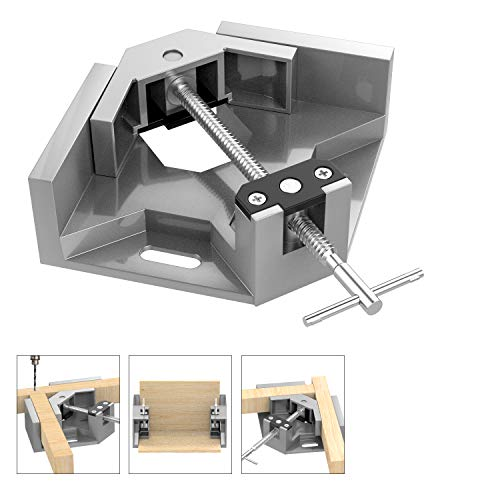 Housolution Right Angle Clamp, Single Handle 90°Corner Clamp, Aluminum Alloy Right Angle Clip Clamp Tool Woodworking Photo Frame Vise Holder with Adjustable Swing Jaw - Gray