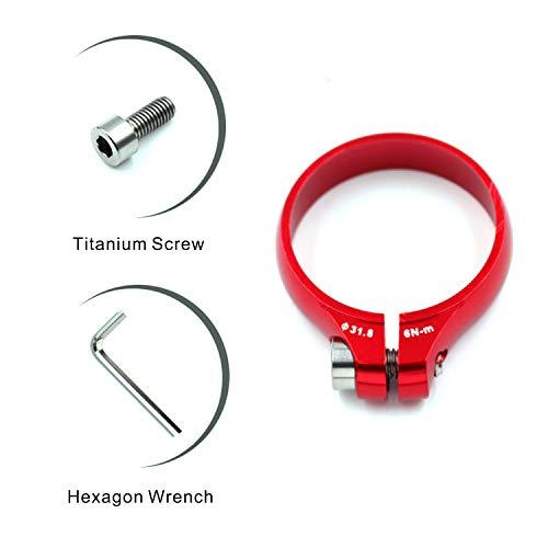 corki Bicycle Bike Seatpost Clamp Bike Tube Clipwith Titanium Screw 31.8mm Red ()