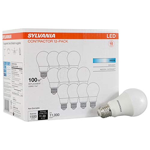LEDVANCE Sylvania General 40205 14 (100W Watt Equivalent), A19 Non-Dimmable 12 Pack LED Light Bulb, Daylight (5000K)