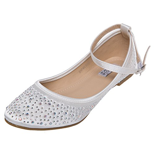 SheSole Women's Rhinestone Wedding Ballet Flats Ivory Shoes US 8