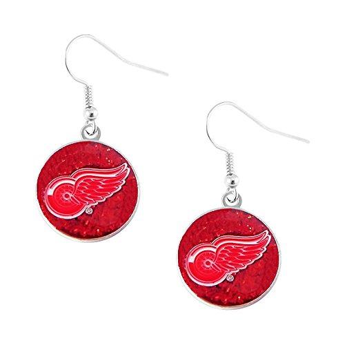 aminco NHL Detroit Red Wings Glitter Dangle Logo Earring Set Charm Gift