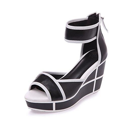 Amoonyfashion Mujeres High-heels Material Suave Surtido De Color Cremallera Peep-toe Sandals Negro