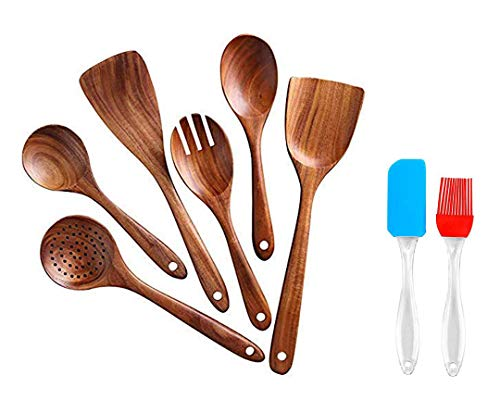 WOOD ART STORE Wooden Cooking Spoon Set with Spatulas for Non-Stick Kitchen Utensil Cooking Set Non Scratch Natural Wood Utensils for Cooking | Set of 6 and 1 Set of Silicon Spatula and Oil Brush (6)