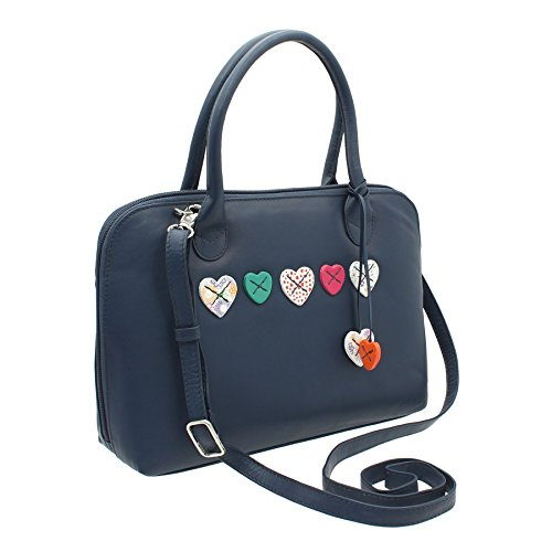 LUCY Navy With Shoulder 30 750 Bag Leather Black Leather Soft Strap Grab Mala Collection p0Wq8gw5xT