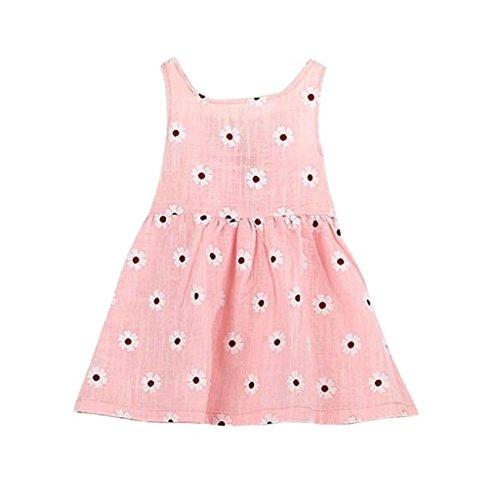 Willsa Cute Little Dress, Baby Girls Sleeveless One Piece Dress Print Bowknot Tutu Dress Summer (6-7Y, Pink B)