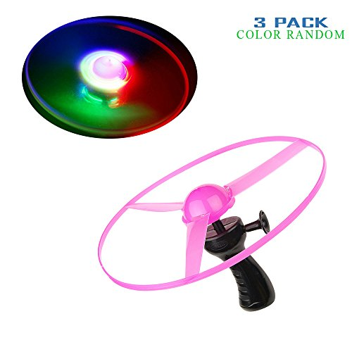 Geekercity Light Up Flying Saucer With Hand Launcher - Colorful Plastic Flying Disc Plastic Space Game Toy Kit Children Kids Christmas Gift [3 PACK] [COLOR RANDOM]