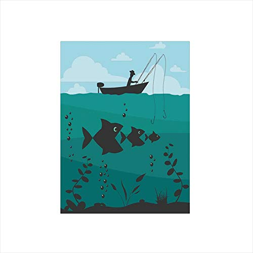Ylljy00 Decorative Privacy Window Film/Single Man in Boat Luring with Bobbins Nautical Marine Sea Nature Funky Image/No-Glue Self Static Cling for Home Bedroom Bathroom Kitchen Office Decor Blue Teal