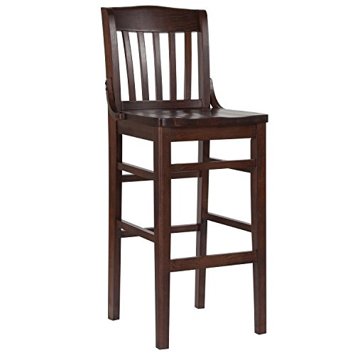 (Flash Furniture HERCULES Series School House Back Walnut Wood Restaurant Barstool)