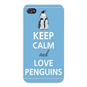 Apple Iphone Custom Case 4 4s White Plastic Snap on - Keep Calm and Love Penguins Family