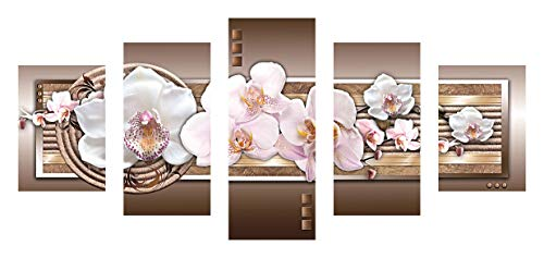 (SuperDecor 5D Diamond Painting Kits for Adults Full Drill Diamond Painting 5 Panels White and Pink Flowers Brown Pink White)