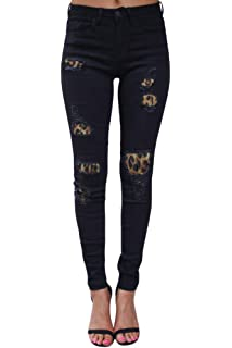 53c8114d980 Women's Ripped Boyfriend Jeans Leopard Print Distressed Skinny Fit Stretchy  Jeans