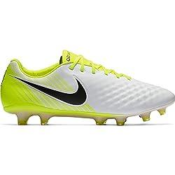 Nike Men's Magista Opus Ii Fg Soccer Cleat (Sz. 9.5) White, Black, Volt, Wolf Grey