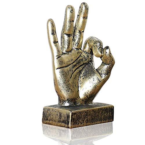 (Lependor Polyresin Hand Gesture Desk Statues Finger Sculpture Decor (Golden Ok Fingers))