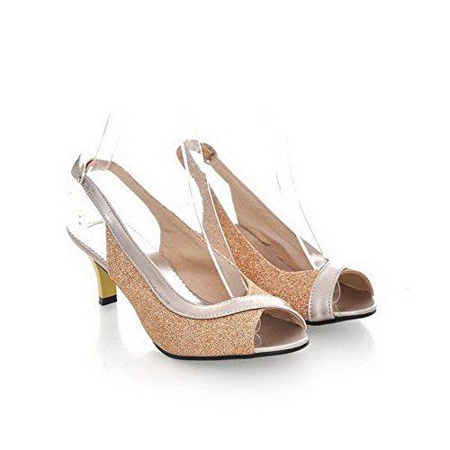 AalarDom Mujer Hebilla Puntera Abierta Tacón Medio Charol Sólido Sandalias de vestir Gold(5.5cm)