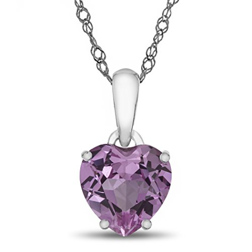Finejewelers 10k White Gold 7mm Heart Shaped Created Pink Sapphire Pendant Necklace
