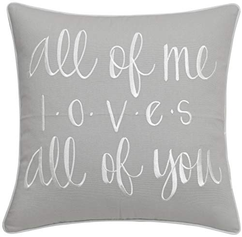ADecor Pillow Covers All of me Loves All of You Pillowcase Embroidered Pillow Cover Decorative Pillow Standard Cushion Cover Gift Love Couple Wedding P318 (18X18, Smoke)