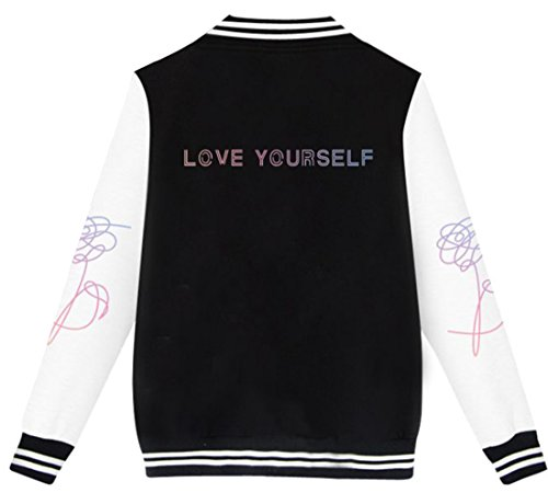 Uomo E Nero Unisex Kpop Hip Boys Teen Top Cool Per Donna Bts Love Uniforme Bianco Lettera Fans Maniche Baseball Pop Emilyle Giacca Stampata 1 Lunghe Cappotto Yourself Bangtan Bottone qIwWpTaBf