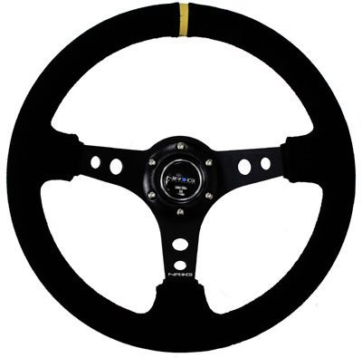 NRG Steering Wheel - 06 (Deep Dish) - 350mm (13.78 inches) - Black Suede with Black Spokes/Yellow Stripe - Part # ST-006S-Y -