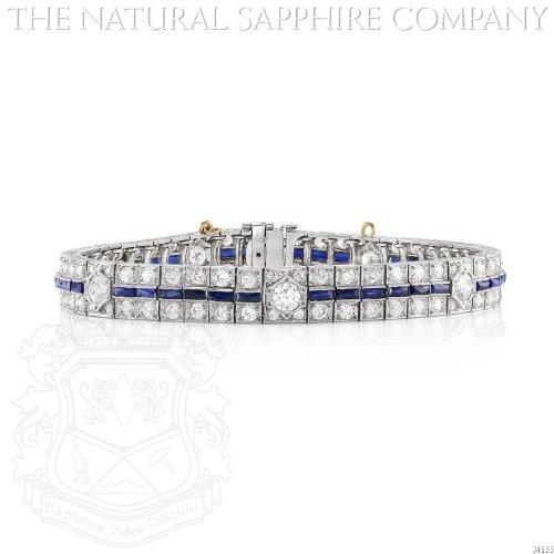 CLASSIC ART DECO PLATINUM, SAPPHIRE AND DIAMOND BRACELET, CIRCA 1925 (Art Deco Platinum Diamond Sapphire)