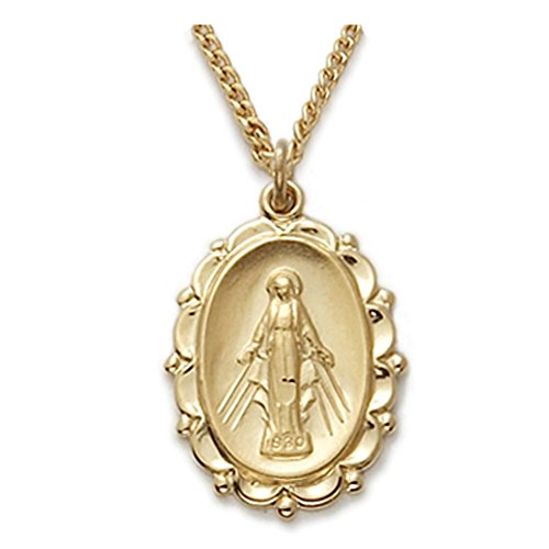 TrueFaithJewelry 24K Gold Plate Over Sterling Silver Miraculous Medal with Filigree Border, 7/8 - Miracle Medal