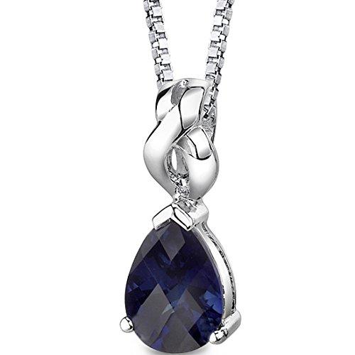 e Pendant Necklace Sterling Silver Pear Shape Checkerboard Cut (Brilliant Cut Sapphire Necklace)