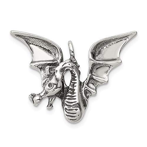 925 Sterling Silver Dragon Pendant Charm Necklace Skull Dagger Man Fine Jewelry Gift For Dad Mens For Him -
