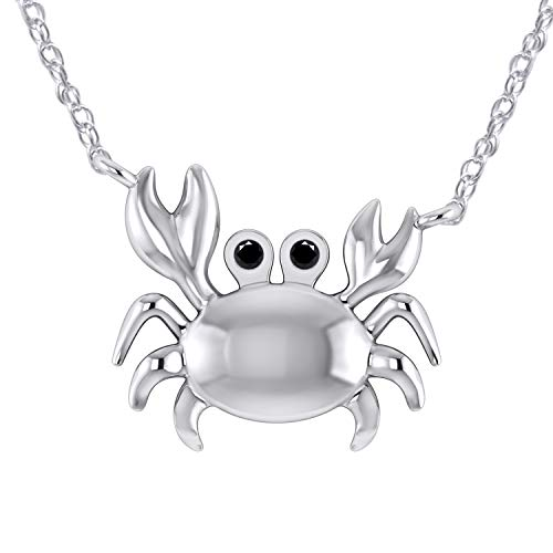 Pretty Jewels 0.04 Ct Black Real Diamond in 14K White Gold Fn 925 Sterling Silver Sea Crab Pendant Necklace ()