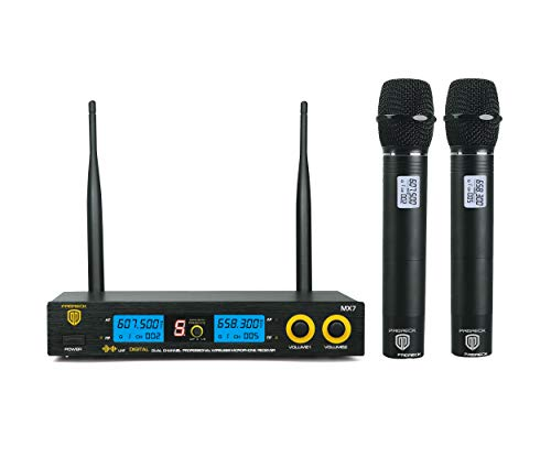 PRORECK MX7-2 Dual Channel Handheld Wireless Microphone System Receiver Karaoke Machine with LCD Display for Party/Wedding/Church/Conference/Speech (607.5 & 658.3MHz)