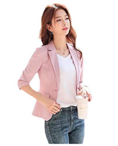 RDHOPE-Women Notch Collar Single Button Blazer Slim-Fit Pinstripe Welt Jacket Pink M
