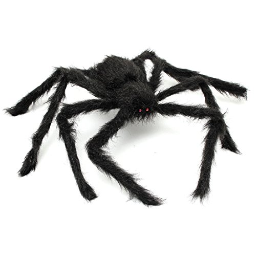 SunnyRoyal 2 Pcs Black Realistic Fake Spider and Plush Scary Halloween Spider Jokes Toys for Kids Halloween Party Decoration Props (Scary Halloween Office Pranks)