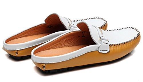 Tda Herenstreep Ruches Contrasterende Stiksels Leren Instapschoenen Pantoffels Wit Geel