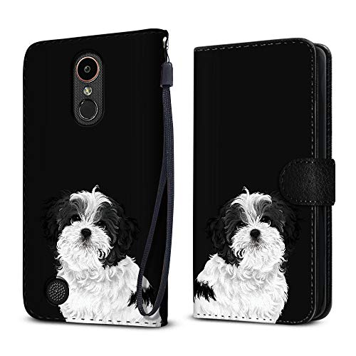FINCIBO Case Compatible with LG K20 Plus/Harmony VS501/ LV5 K10 2017 M250 M257, Protective Flip Canvas Wallet Pouch Case Card Holder TPU Cover for LG K20 Plus - Cute Black White Shih Tzu Dog ()