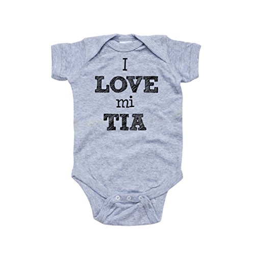 Apericots I Love Mi Tia Spanish My Aunt Cute Short Sleeve Baby Bodysuit,Heather Gray,6 Months