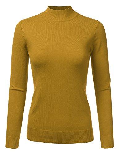 JJ Perfection Women's Soft Long Sleeve Mock Neck Knit Sweater Top Mustard (Cotton Silk Mock Turtleneck)