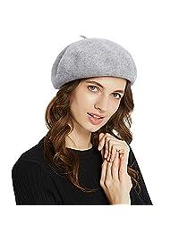 Genfien Girls Women Berets Hat Wool FrenchCloche Chic Angola Beanie Artist Painter Skull Knit Cap Classic Winter Hats