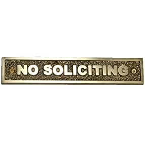 Brass No Soliciting Sign