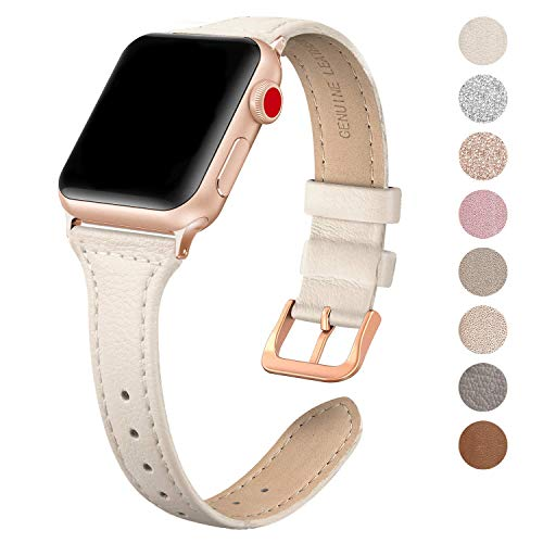 SWEES Leather Band Compatible for Apple Watch iWatch 38mm 40mm, Slim Thin Dressy Elegant Genuine Leather Strap Compatible iWatch Series 4 Series 3 Series 2 Series 1 Sport Edition Women, Ivory