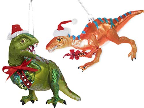 Glass Santa Hat Ornament (Dinosaur Holiday Glass Ornament T Rex and Tarascosaurus with Santa Hat, Gift and Candy Cane Bundle 2 Items.)