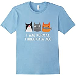 Men's I Was Normal Three Cats Ago Funny Shirt XL Baby Blue