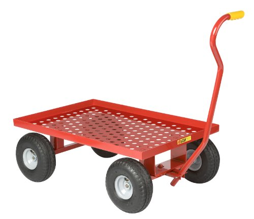 "Little Giant LWP-2436-10P Steel Perforated Deck Wagon Truck with 1-1/2"" Lip, 10"" x 3-1/2"" Pneumatic Wheel, Red, 1200 lbs Load Capacity, 24"" Width x 36"" Length"