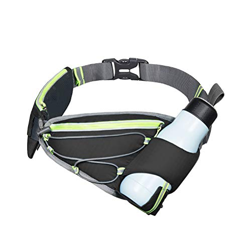 (IDAND Multi-Functional Waist Pack Water Bottle Running Belt with Water Bottle Holder for Women and Men Adjustable for Jogging Fitness and Workout - Fuel Waist Pouch for Runners(Without Water Bottle))