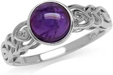 Cabochon Amethyst White Gold Plated 925 Sterling Silver Celtic Knot Solitaire Ring