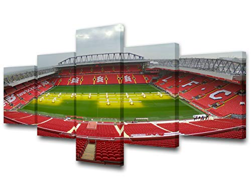 5 Piece Canvas Wall Art Liverpool Poster and Prints on Canvas Anfield Stadium Pictures Home of Liverpool F.C. Paintings Football Room Decor for Boys Artwork Framed Stretched Ready to - Poster Anfield