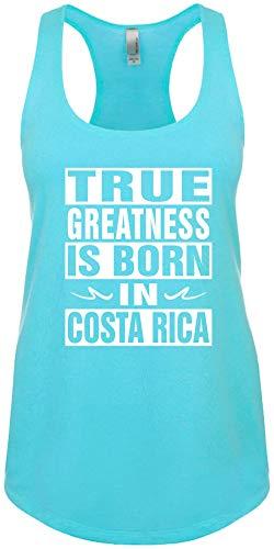 Junior's Size M Funny Tank Top (True Greatness Born in Costa RICA) Ladies Shirt