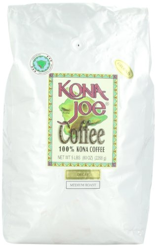 Kona Joe Coffee Decaf Medium Roast, Ground, 5-Pound Bag