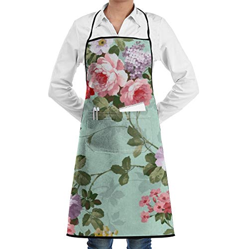 Pink And Purple Flower Print Bib Aprons Adjustable Home Depot Apron Kitchen Chef Apron with Pockets for Women and Men ()