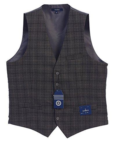 Gioberti Men's 5 Button Formal Tweed Suit Vest, Gray Graph, Medium by Gioberti